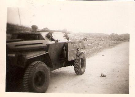 Norman Clack 45 Cdo in a Scout Armoured Car.