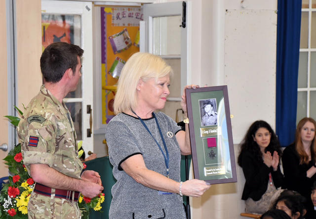 The framed photo and replica Lieut Knowland VC presented to Elmwood School by the London Branch 2018