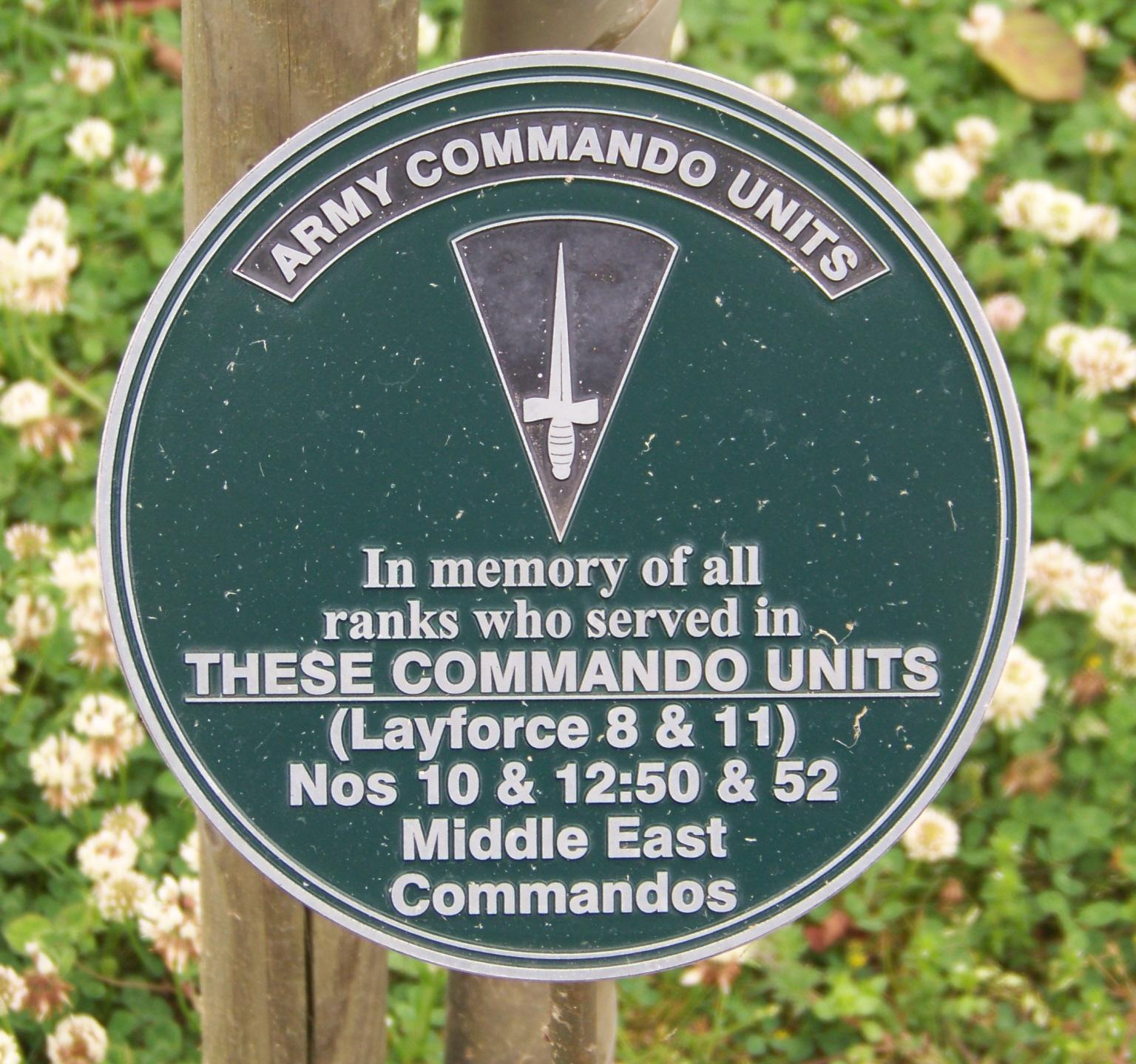 Nos 8, 10, 11, 12, 50 & 52 (ME) Commandos Memorial Plaque at Alrewas
