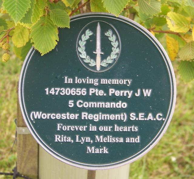 Alrewas plaque for Pte. J.W. Perry, No.5 Commando.