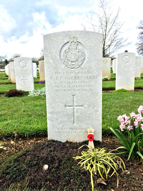 Grave of Cpl Goodenough at Ranville War Cemetery.