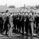 No 4 Commando inspection at Barrassie Street School Troon 5th Sept. 1942.