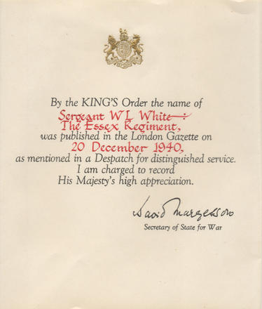 Mention in Despatches for Sgt. W.L. White