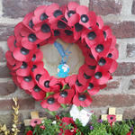 Wreath at St Martinus Churchyard Linne for LCpl Harden VC