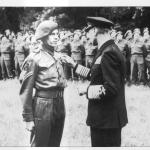 Medal ceremony for Cpl J.W.Hadfield, of No.41RM Commando