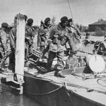Y Troop of No.48 RM Commando boarding an ALC during Operation Bograt, Holland, April 1945.