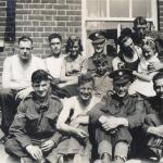 "Some of No.8 Cdo. outside  the ""Oyster Smack"" pub in Burnham-on-Crouch, Aug.1940"