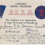 Commando Service Certificate for LSgt Thomas Dennis 6 tp No. 3 Cdo.