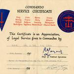 Reg Coy Commando Service Certificate