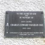 Plaque for Lt. Col.Charles Edward Vaughan OBE