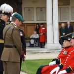 Lt Col Tom Salberg, MBE inspecting the In-Pensioners