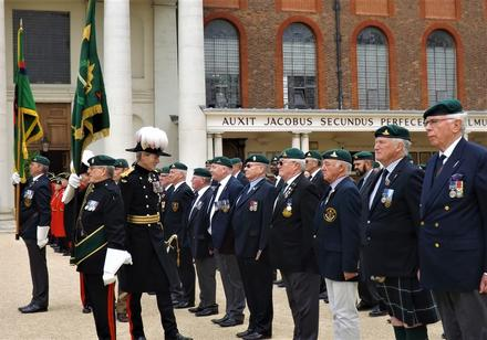 General Sir Adrian Bradshaw, KCB, OBE, Governor of The RH Chelsea, inspects the Commando Veterans.