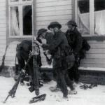 Commandos operating a 3 inch mortar-Vaagso.