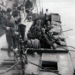 Men of No.12 Commando in an ALC being lowered in to the sea to evacuate paratroopers after the successeful Bruneval raid.