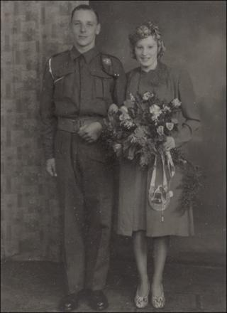 Cyril Laskey 43RM Commando and his wife Winifred on their wedding day