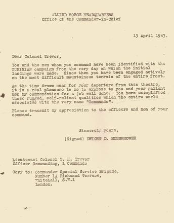 Letter to Lt Col. Tom Trevor, CO No.1 Cdo, from Dwight Eisenhower, 15 Apr '43