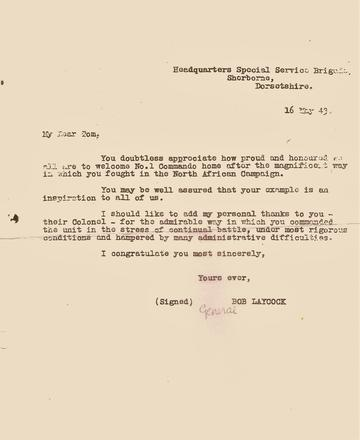 Letter to Lt Col Tom Trevor, CO No.1 Cdo, from Gen. Bob Laycock, 16 May '43