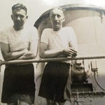 George Ryder No. 2 Cdo. (left) and another on board ship