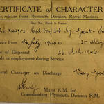Certificate of Character for Cpl. Grant-Hanlon RM