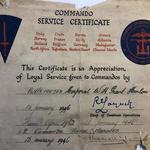 Commando Service Certificate for Cpl. William Henry Grant-Hanlon