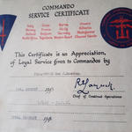 Commando Service Certificate for Mne. John Rumming 48RM Cdo.
