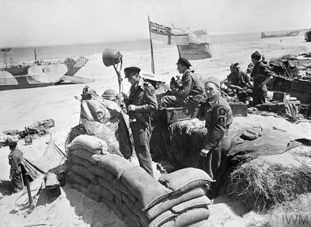 Royal Navy Beachmaster's HQ on the beach near Courseulles, Normandy, 13 June 1944.