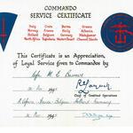 Cdo. Service Certificate for Cfn. M.E. Burrows