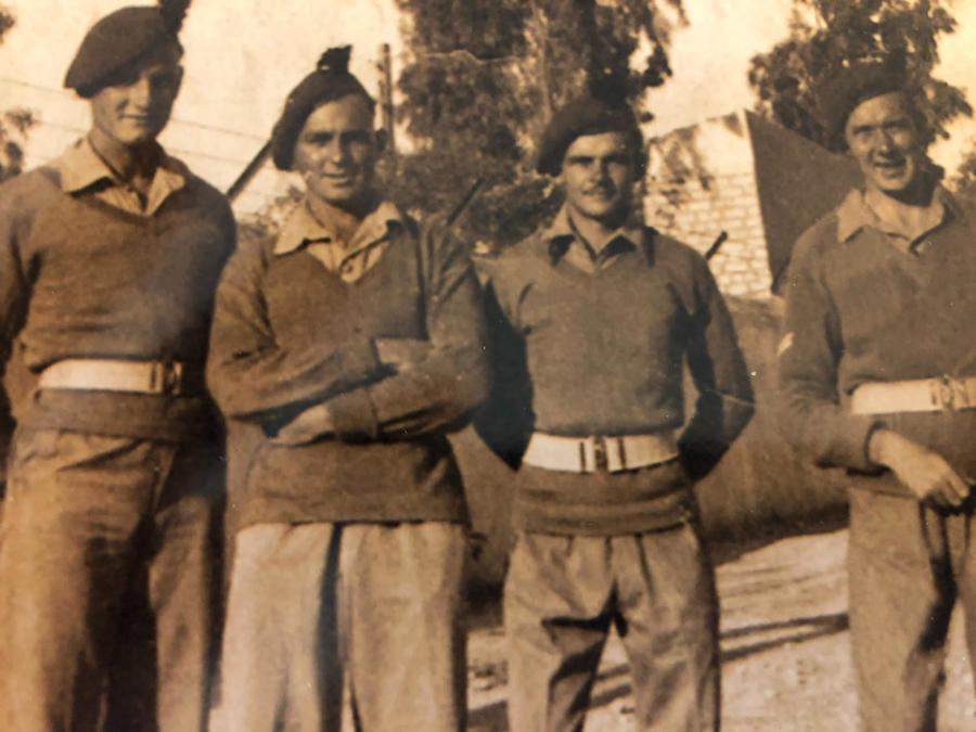 Pte. J.B. Jones (3rd from left) and 3 others from No. 9 Commando
