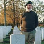 Geoff Broadman at the grave of Ernest Norton [Nathan]