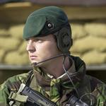 Cpl. P. Fleet 40 Commando, RM, on guard duty at Bagram Airfield, Afghanistan, February 2002.