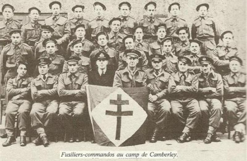 Fusiliers-commandos at a camp in Camberley