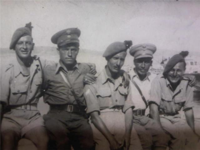 Alec Hill, Smudger Smith, Ron 'Ken' Young with Greek officers
