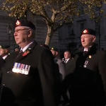Mark Heard marching with Royal Marines and RM Commandos at the Cenotaph November 2019