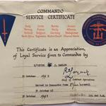 Commando Service Certificate Tpr. J.D. Barlow No.3 Cdo.