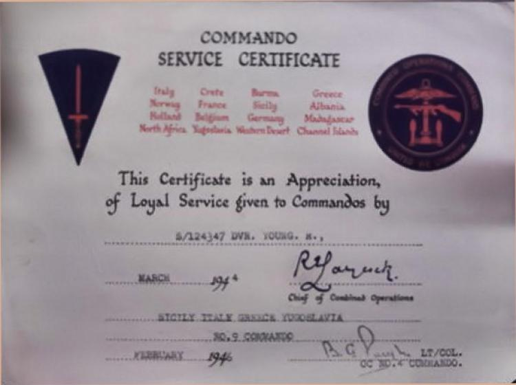 Ronald  Young Commando Service certificate