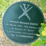 Alrewas plaque for Terence 'Terry' Duddy, No.5 Commando.
