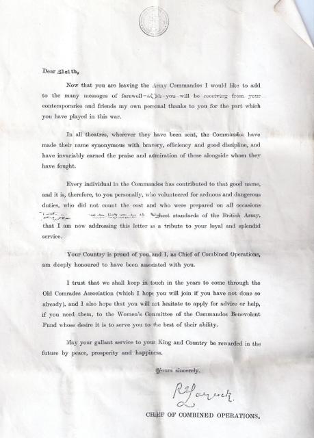 Laycock letter to Tommy (paddy) Sleith  No.9 Commando
