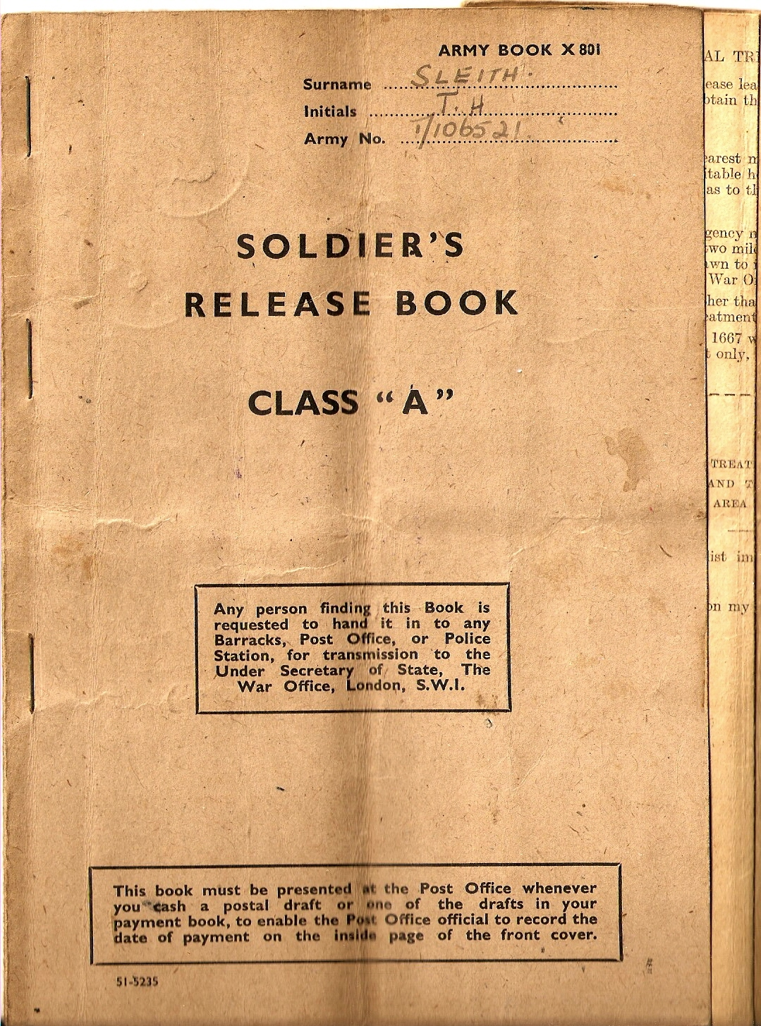 Class A Release Book for Tommy Sleith