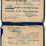 Commando Association membership card -A.C. Morley