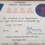 Commando Service Certificate for Mne H.W. Pratt