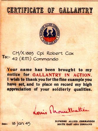 Cpl. Robert Cox certificate of gallantry