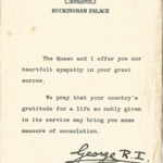 Letter from HM King George V1 to family of Capt. J.C. Short