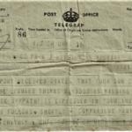 Telegram to family reporting Marine Waygood missing