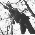 Young Officer on Tarzan Course when it was in Sylvan Glade behind Drill Shed