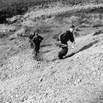 Recruits running up old wartime butts on Endurance Course.