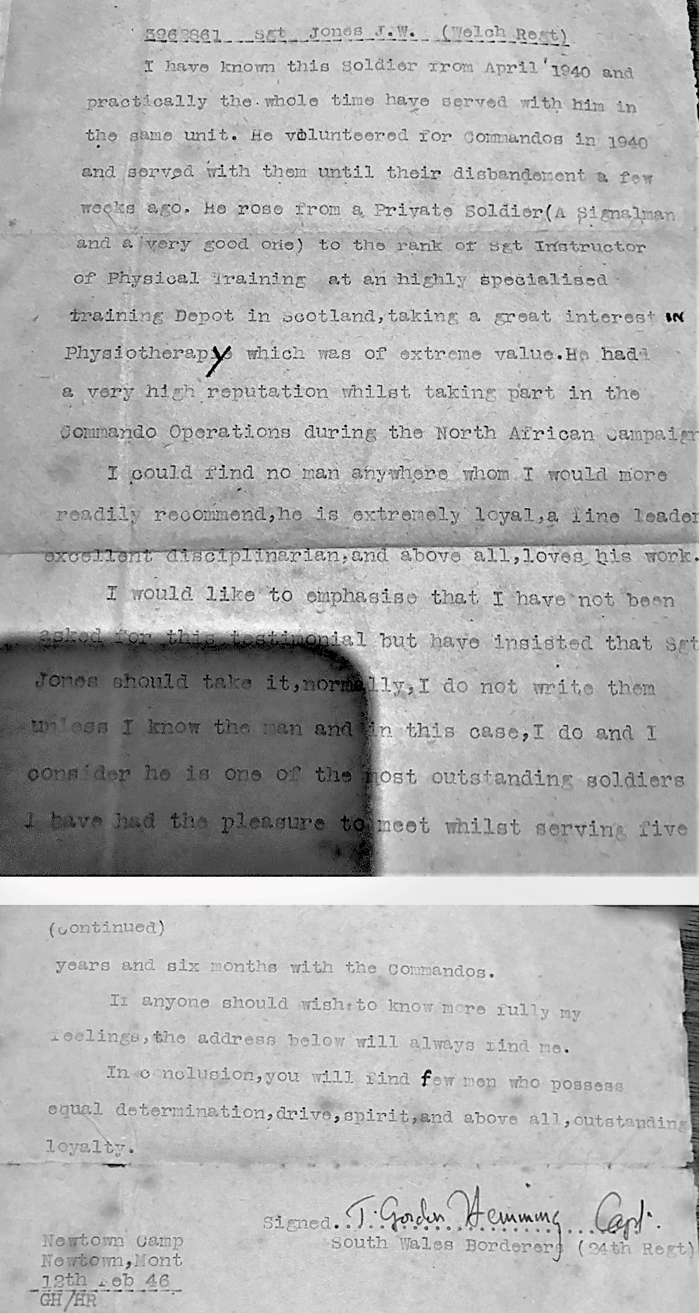 John Willis-Jones reference letter from Capt. T. Gordon-Hemmings