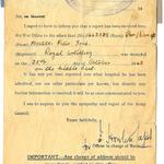 Letter re wounding of Peter Foulger 65 Anti Tank Regt