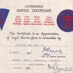 Commando Service Certificate for Cpl. Vic Pratt