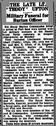 Newspaper article about the funeral of six RM Commandos killed at Suez