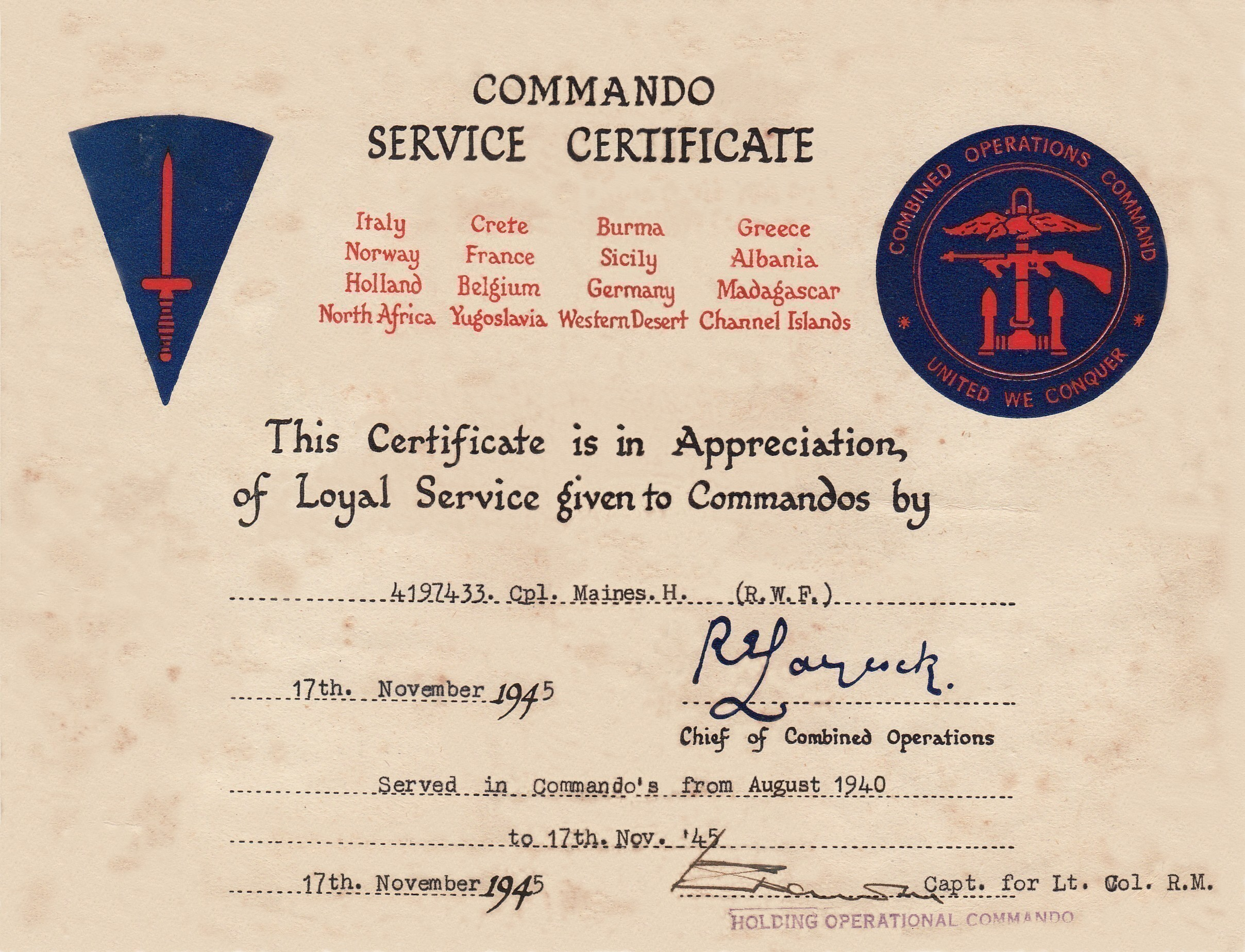 Commando Service Certificate-Hugh Maines-Stage 9A